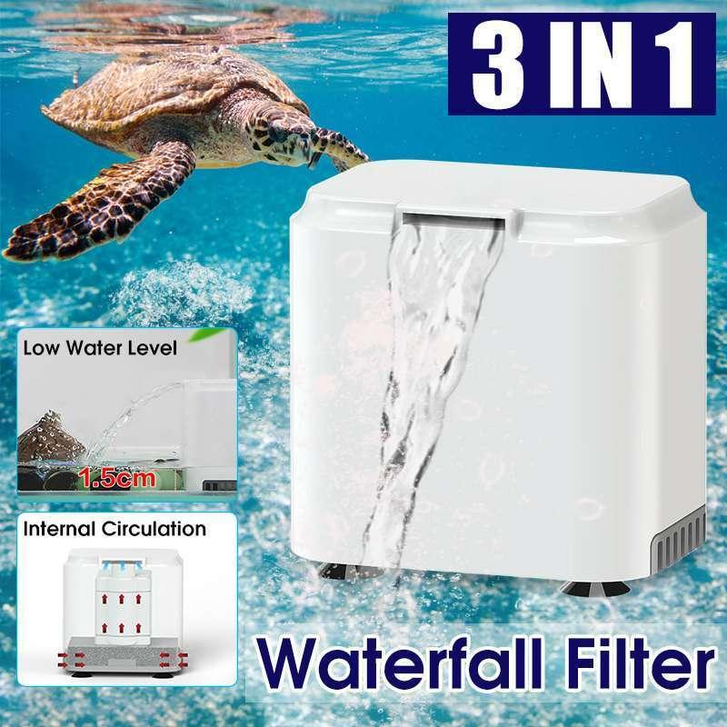 3 in 1 Water Filter for Aquarium Fish Tank Filter Mini Turtle Tank Low Water Level Internal Circulation Waterfall Filter Pump Y200917
