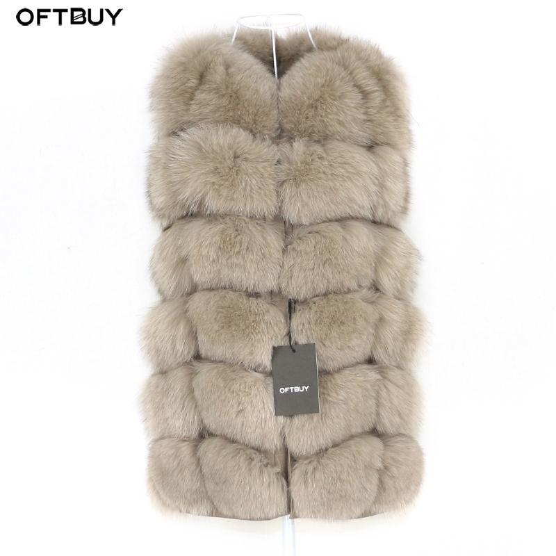 OFTBUY Bahar Gerçek Fox Kürk Yelek Kadın Kolsuz Kış Ceket Jile Doğal Kürk Bodywarmer Yelek Kalın Sıcak Streetwear T200104