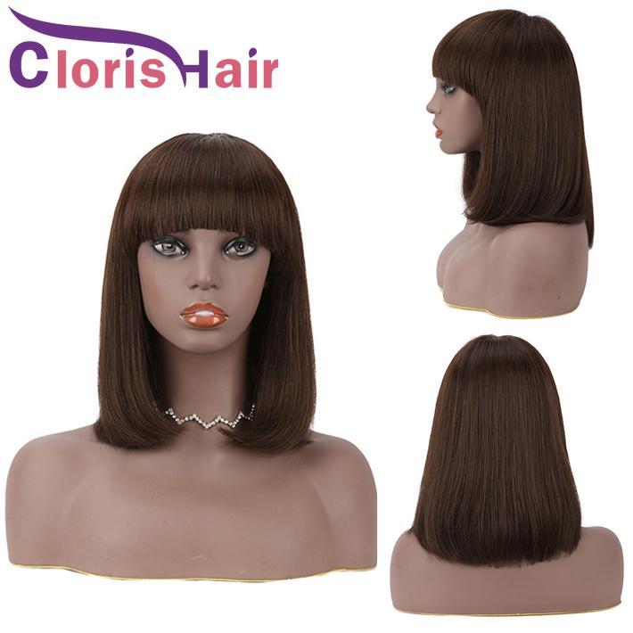 # 2 Máquina completa de peluca con flequillo con flequillo Darkest Brown Hair Human Human Brasil Pixie Cut Front Wig WIG con franja para mujeres negras
