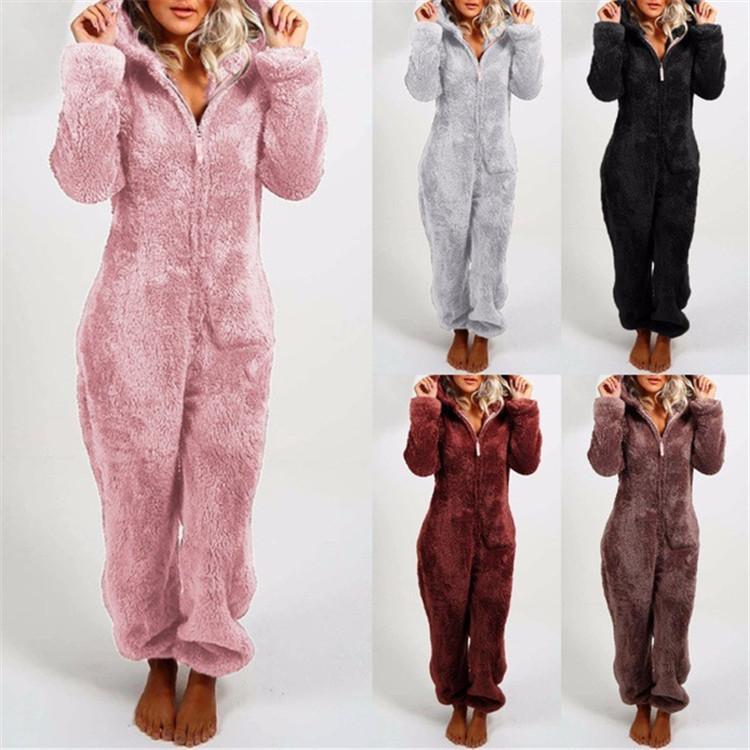 Europe and America 2020 New Pajamas Women's Winter Sleepwear Long Sleeves Plus Plush Thick Plush Jumpsuit Hooded Homewear Pajamas Robes