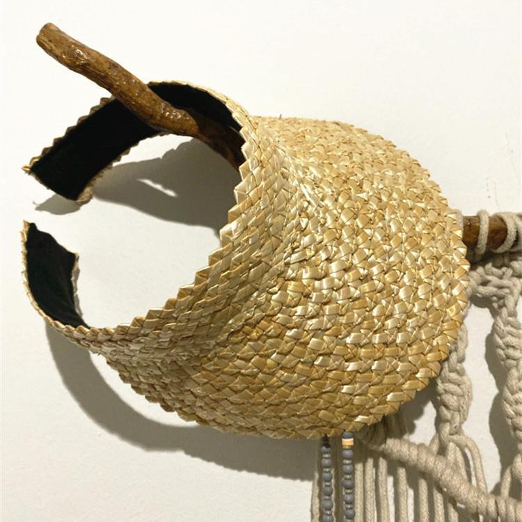 Sombreros anchos sombreros de verano mujer rafia sombrero de paja sol visor gorra dama vacaciones playa uv protección con topless stab ins moda caps1