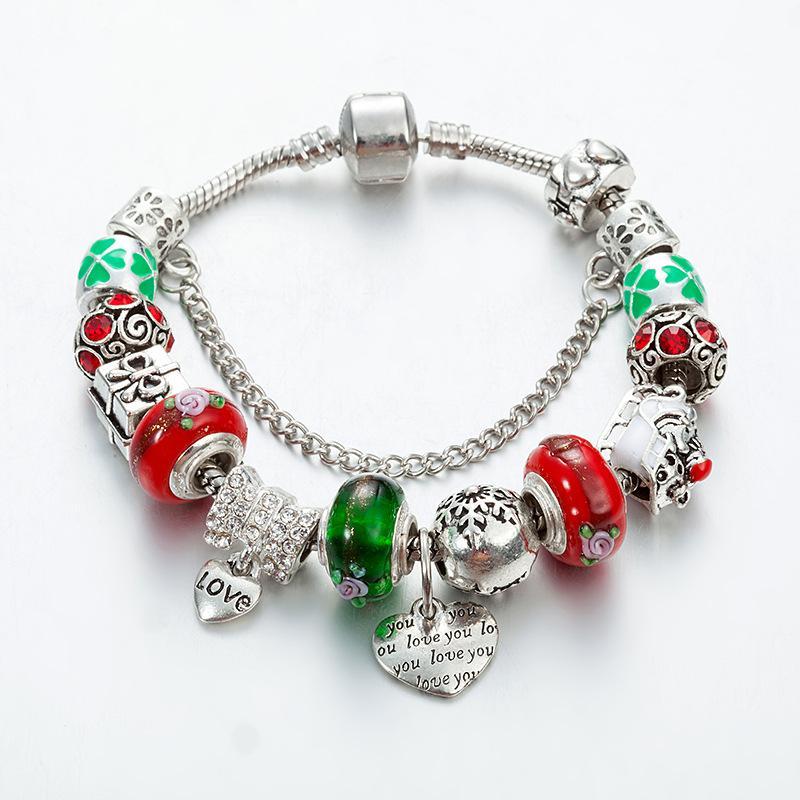 سانتا كلوز القلب قلادة الأزياء DIY حفرة كبيرة الخرز سوار اليد عيد الميلاد سلسلة لون سوار بالجملة