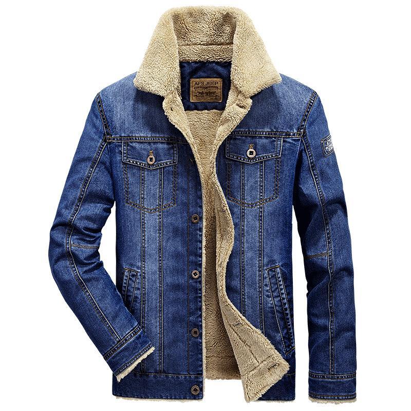 Homens casaco e jaqueta jaqueta quente moda espessura denim trendy jean inverno mens outwear 2021 fleece masculino plus size bjkig