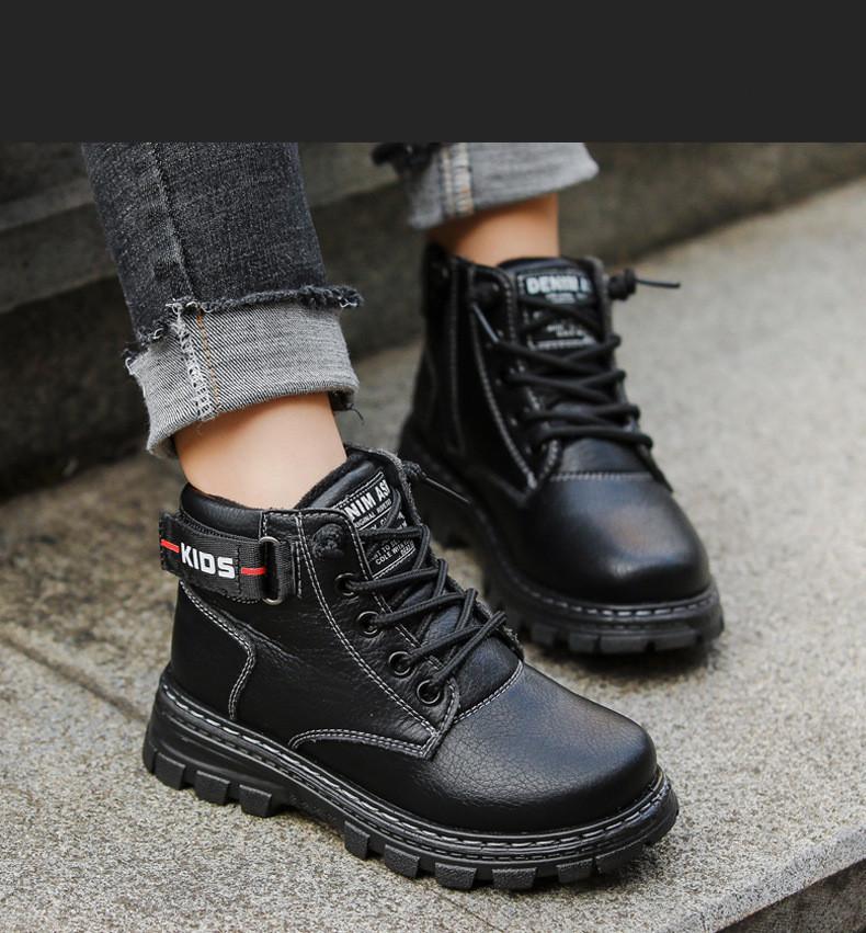Muchacho de la manera de alta calidad botas de Martin con velcro zapatos de cuero de la tendencia de vanguardia muchachos del estilo británico zapatos casuales