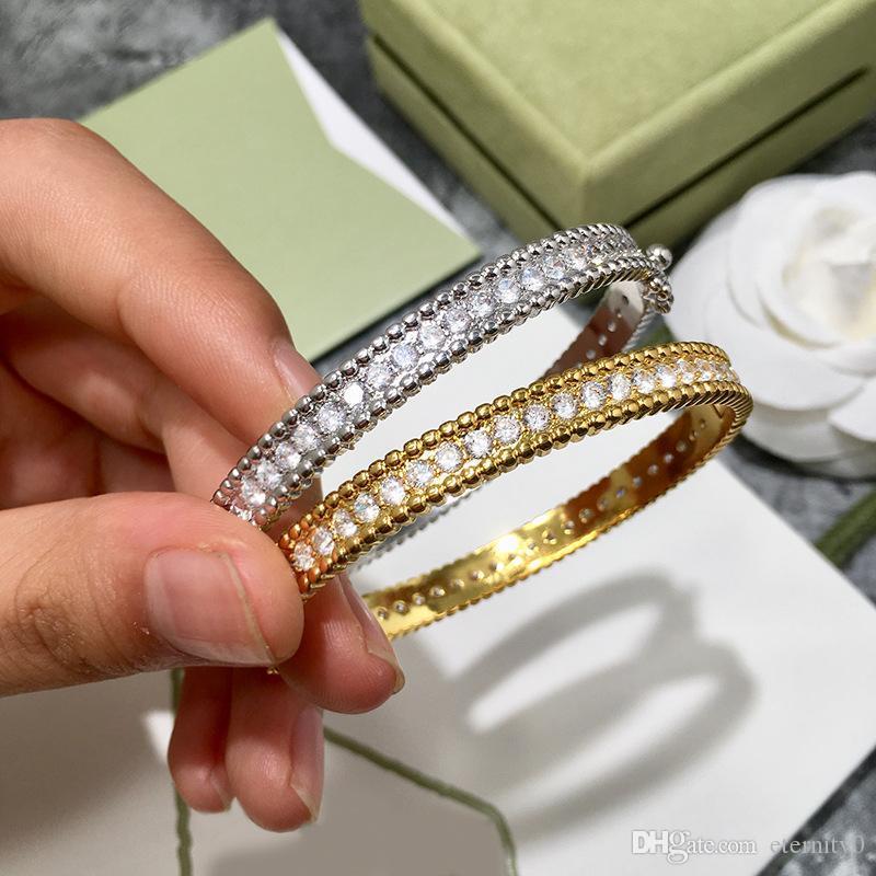 Bracelete de trevo de diamante de linha única de moda adequado para jóias de pulseira feminina