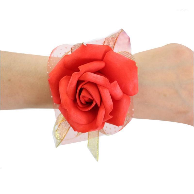 Декоративные цветы венки качества запястья искусственные невесты невесты свадебные украшения1