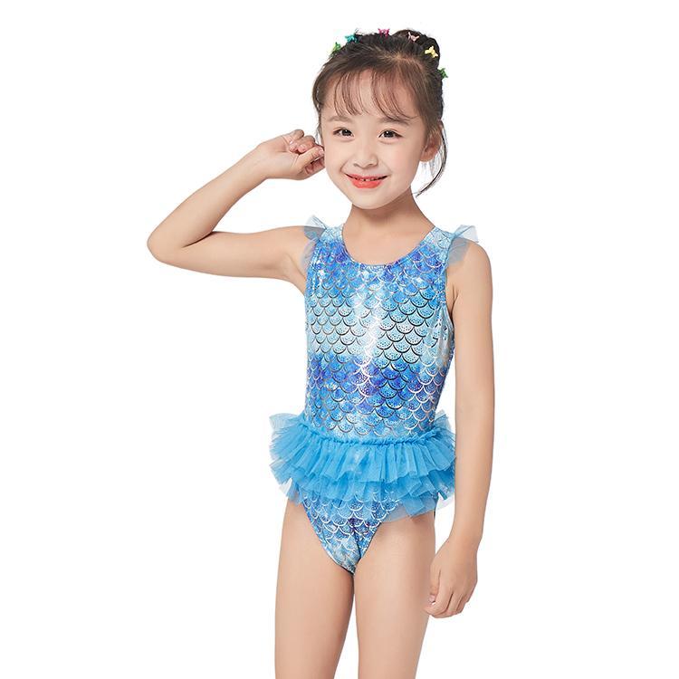 Maillot de bain pour enfants maillot de bain une pièce maillot de bain princess fille jupe coréen succulent maillot de bain bleu
