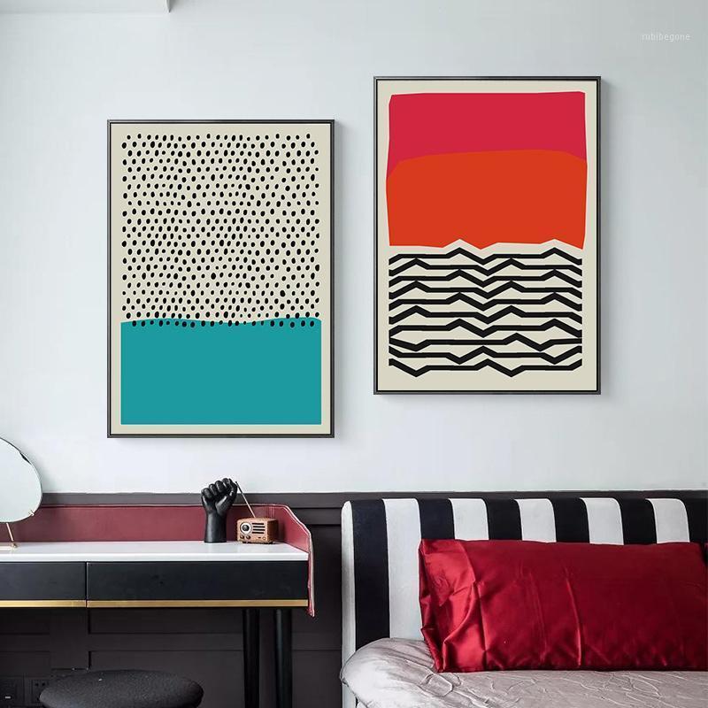 Картины современные разноцветные красные синие абстрактные геометрические стены искусства холст живопись картина плакат и принт галереи гостиная домашняя декора1