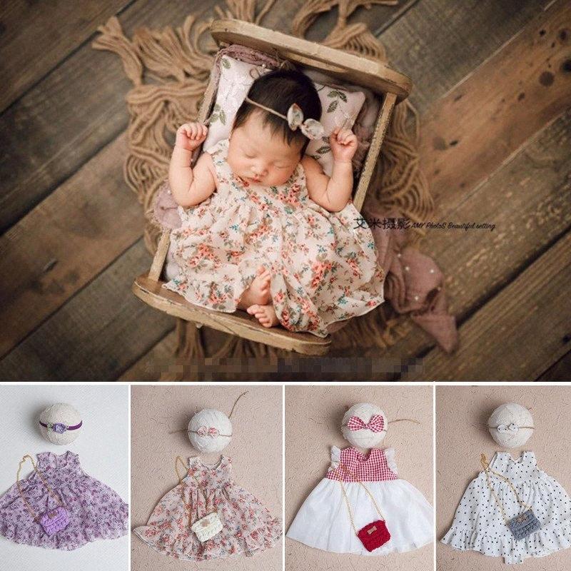 Newborn Fotografia Puntelli Ragazze floreale Pois Gonna con copricapo sacchetto di Kawaii della foto del bambino Outfit fucilazione dello studio Photo Puntelli kHXU #