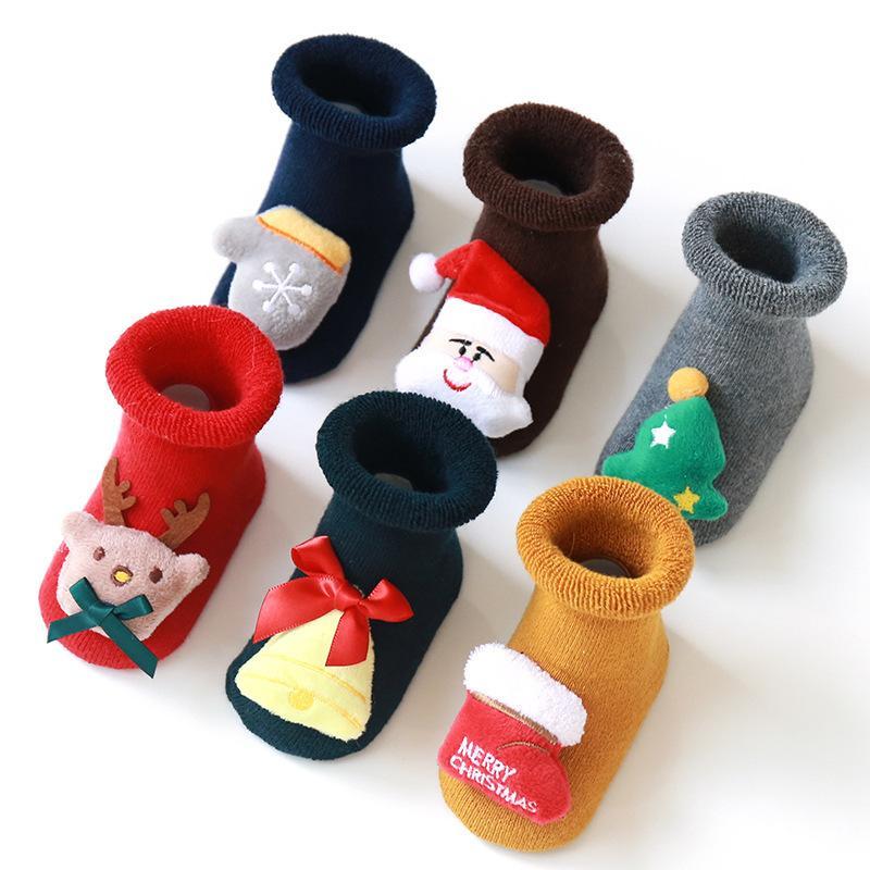 Fashion Sock Terry Christmas Baby Elk Stockings Santa Claus Non Slip Keep Warm Silica Gel Children Floor Socks Autumn Winter 5 5xy K2