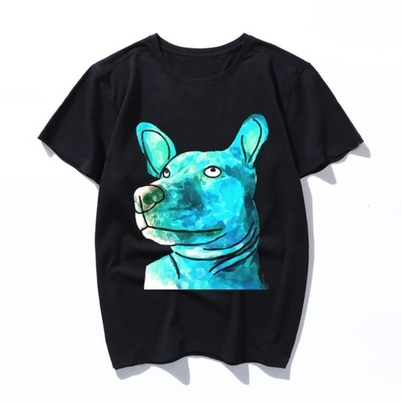aquarela cão Impresso T-shirt do Ne manga curta Fele T-shirts Verão Casual Magro Mulheres Homens Camisetas Top