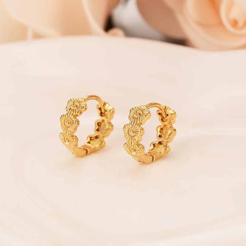flor aro de color oro pendientes de las mujeres / de la muchacha, joyería de moda por amor / árabes de África / niños Media regalo de los niños de la boda del Este