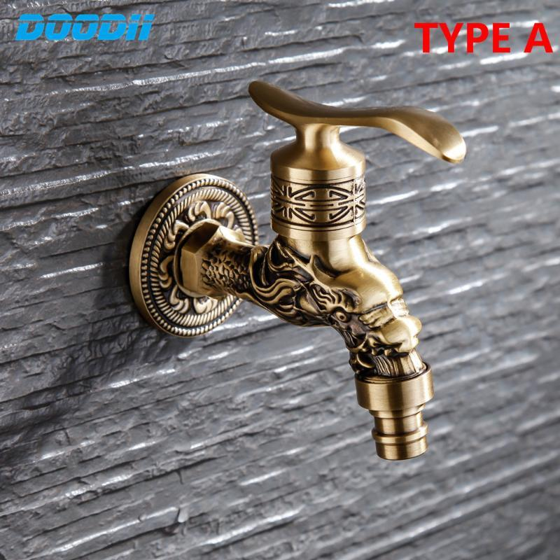 Bathroom faucet In-wall Brass patina Dragon pattern pattern single handle Washing Machine Toilet Mop Garden Luxury Cold Faucet