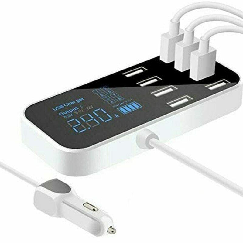 8 портов быстрого автомобиля USB зарядное устройство Multi USB зарядная станция с ЖК-дисплеем