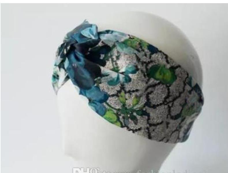Tasarımcı 100% Ipek Çapraz Kafa Kadın Kız Elastik Saç Bantları Retro Türban Hearwraps Hediyeler Çiçekler Hummingbird Orkide
