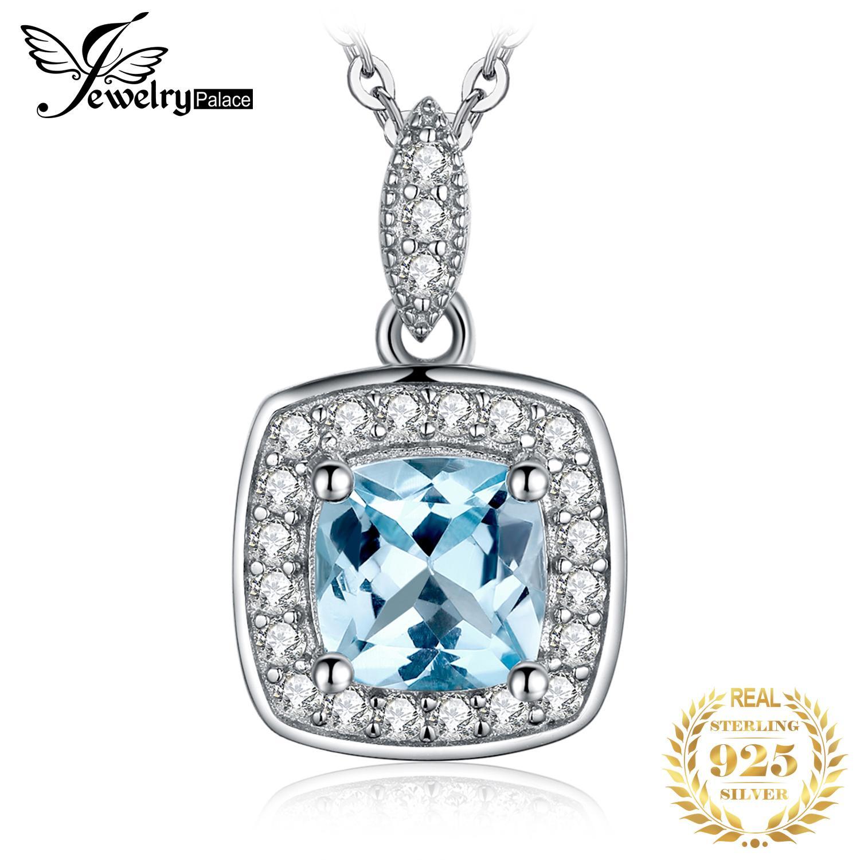 JoyeríaPalacio Natural Blue Topaz Colgante Colgante 925 Sterling Silver Gemstones Choker Declaración Collar Mujer No Cadena 0208