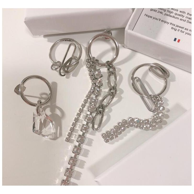 Justine Clenquet Asymmetric Metal Chain Crystal Earrings Fashion Personality Hip Hop Punk Ladies Earrings Birthday Gift Naptl