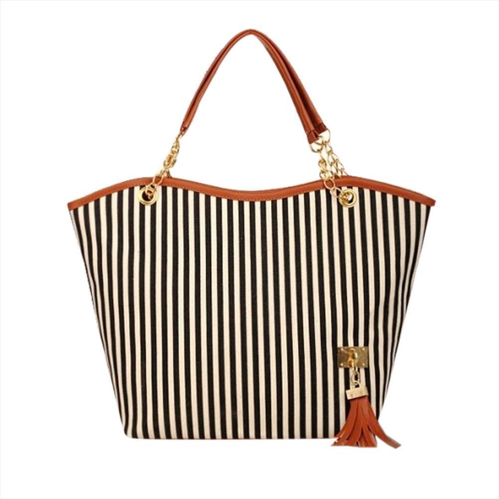 Mulheres Handbag Canvas por Cima do Ombro Tote Sling Big Bags listrado Ladies Bolsas Fringe Tassel Vermelho Casual menina alta qualidade P