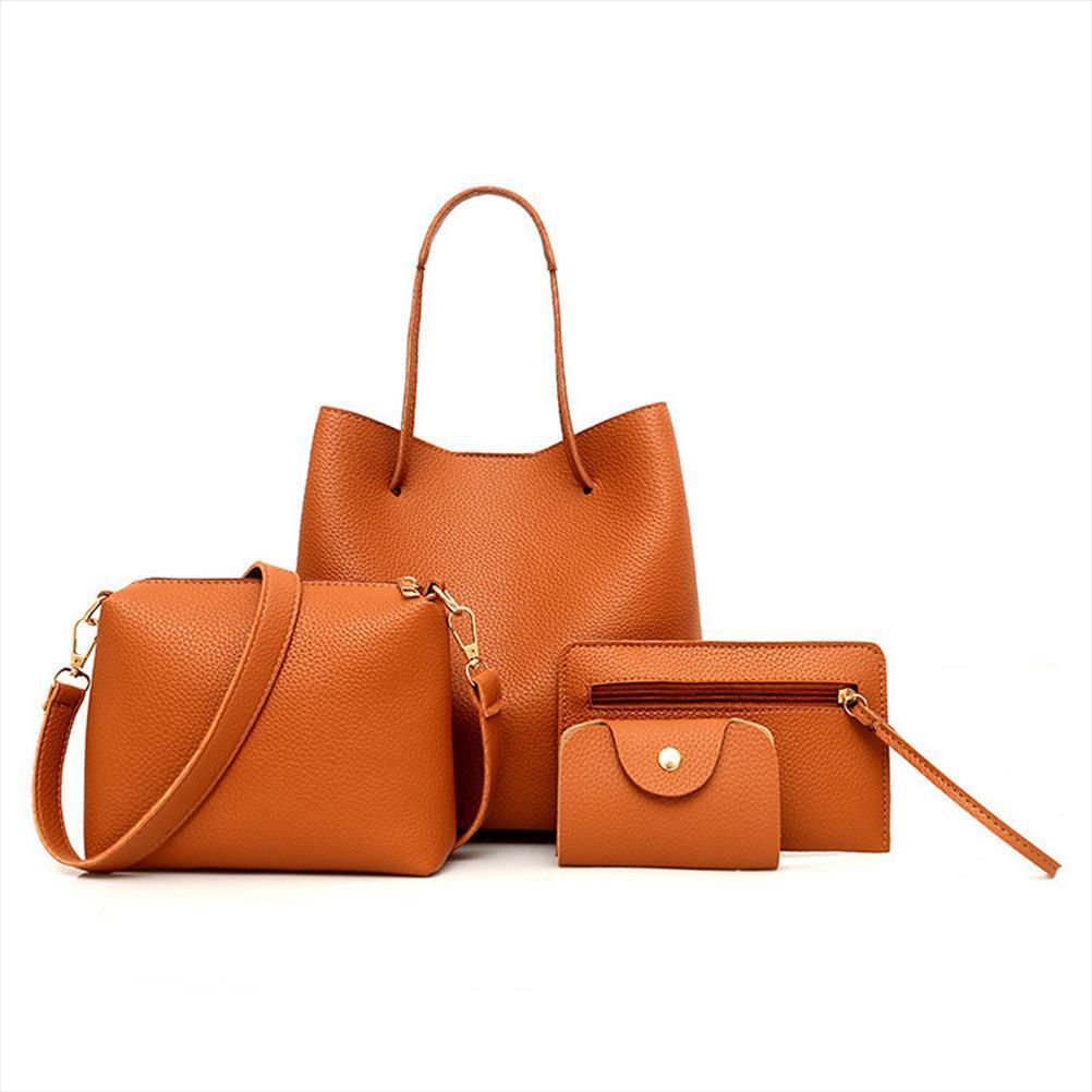 4pcs set Women Bag Set Top Handle Big Capacity Female Pattern Handbag Shoulder Bag Purse Ladies PU Leather Crossbody Bag R25