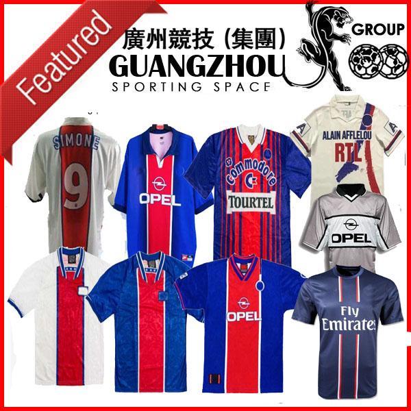 90 92 Retro Paris Jerseys PSGJersey Anelka Okocha Weah Soccer Beckham 06 07 12 13 93 94 95 96 99 Ibrahimovic Camisa de futebol clássico