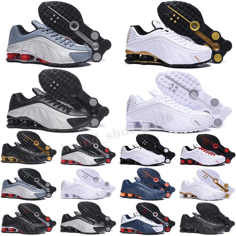 Shox R4 Venta al por mayor OG R4 Run Shoes Shoes Mens Oz NZ 301 Entregar Triple Blanco Negro Naranja Plata Red Gold Trainers Sports Sneakers 40-46