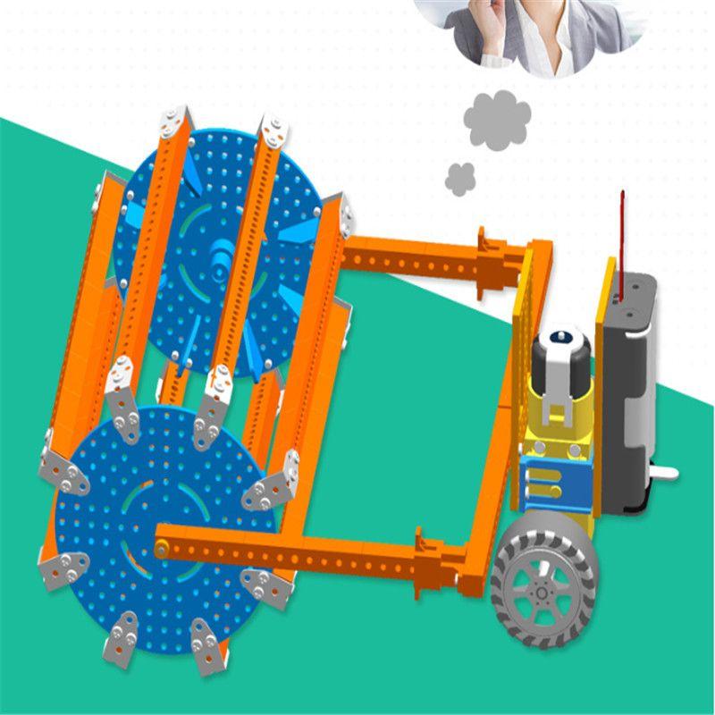 Kostenloser Versand Kunststoff-Spielzeug Technologie Puzzle Wissenschaft Montag Wissenschaft und Bildung Compactor Spielzeug mit Akku
