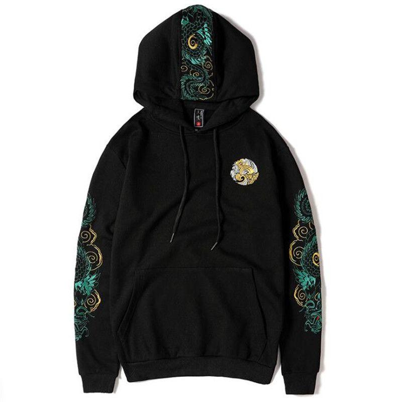 2020 Nouveau brodé dragon capuche Sweatshirts Sweats à capuche chinoise Hommes Femmes Harajuku Hip Hop Streetwear à capuche Hauts pour hommes