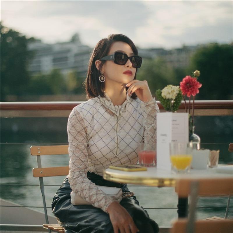 Pist Kadın Tasarımcı Dantel Bluz Rendelenmiş Fermuar Ile Ekose Baskılı Kol Uzun Kollu Zarif kadın Gömlek Parti Üst Bluzlar DU43