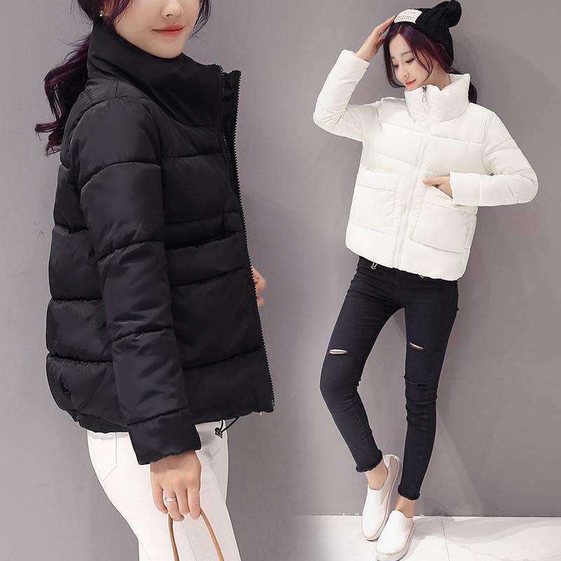 2020 Jacket Women Winter Fashion Warm Thick Solid Short Style Cotton padded Parkas Coat Stand Collar XL XXL 1014
