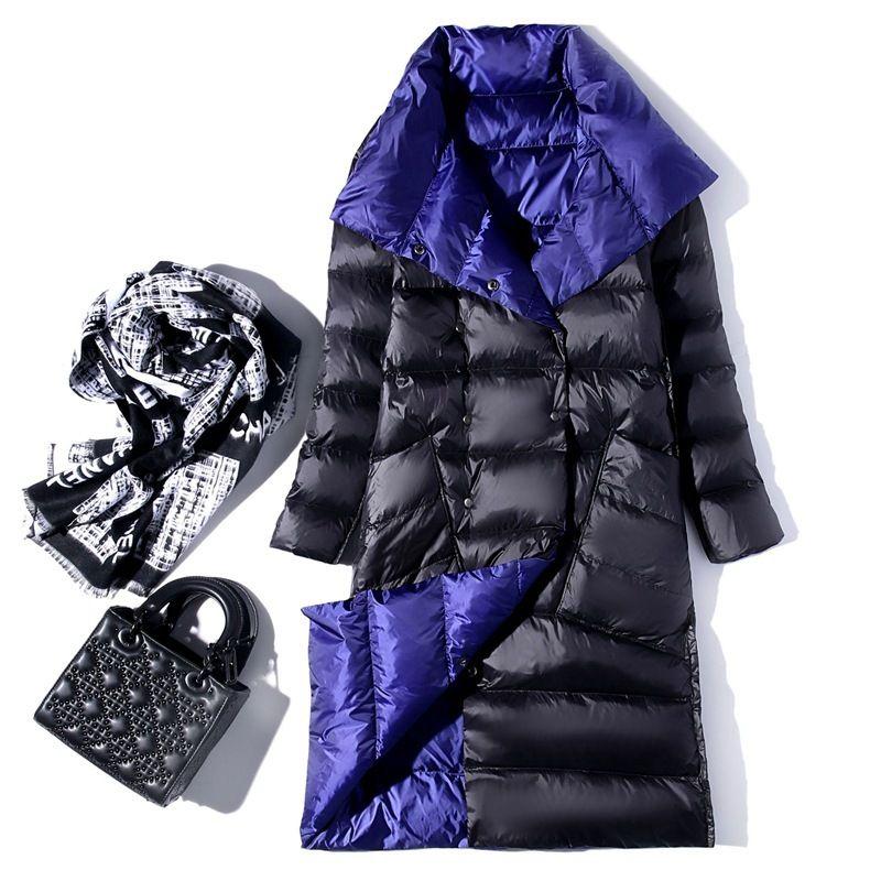 Frauen Double Sided Nach Unten Jacken-Winter-Pullover mit Stehkragen Weiße Ente Daunenmantel Zweireiher Warm Parkas Schnee Outwear 201028