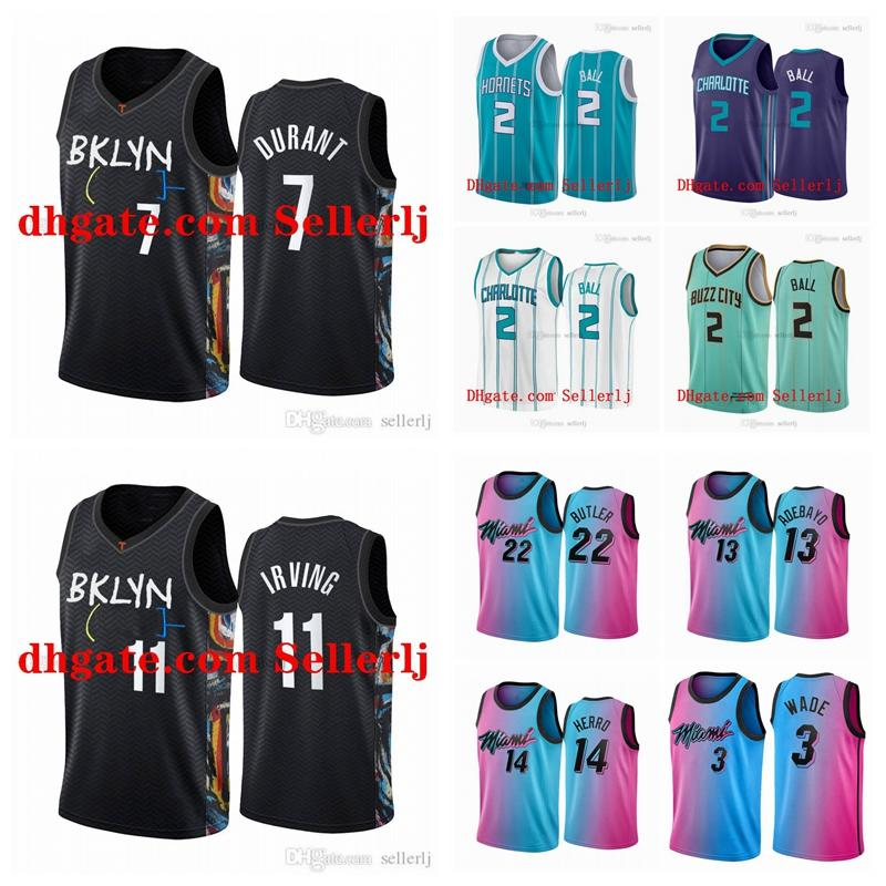 Homens Juventude 2 Bola 2020-21 3 Wade 7 Durant 11 Irving 3 Irvéds 21 Embiid 25 Simmons White Mint City City Basketball Jersey