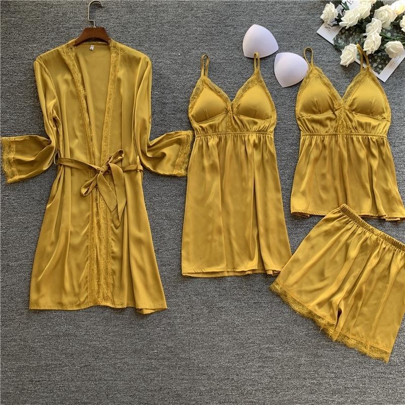 4 piezas Set Mujer Pijama Set Lace Sexy V Lead Spaghetti Strap Strap Robe de manga larga Satin Shorts Set Pijama 201027