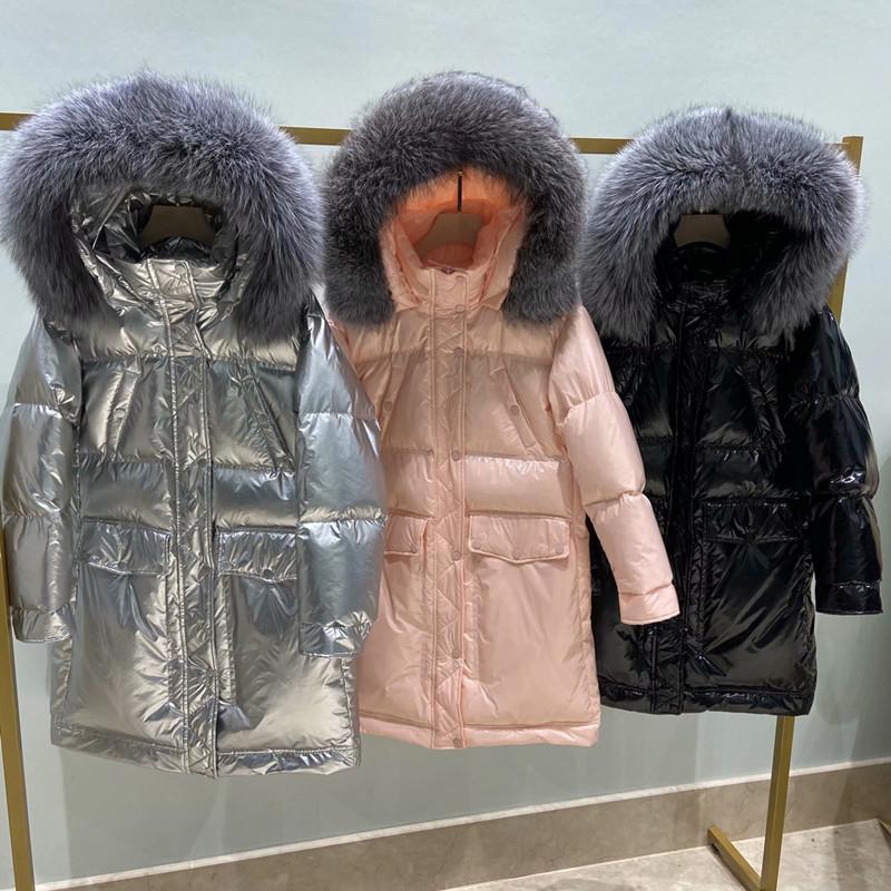 Aileegogo Yeni Kış Kadın Parlak Renk Büyük Gerçek Kürk Yaka Uzun Ceket 90% Beyaz Ördek Aşağı Ceket Gümüş Siyah Kar Dış Giyim