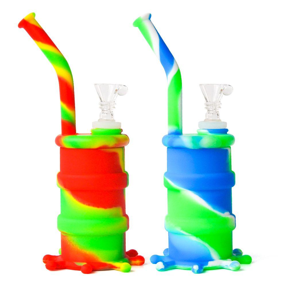8.0-дюймовые разноцветные силиконовые бонги со стеклянной миской и стеклом вниз на данный момент силиконовые водяные трубы Бесплатная доставка