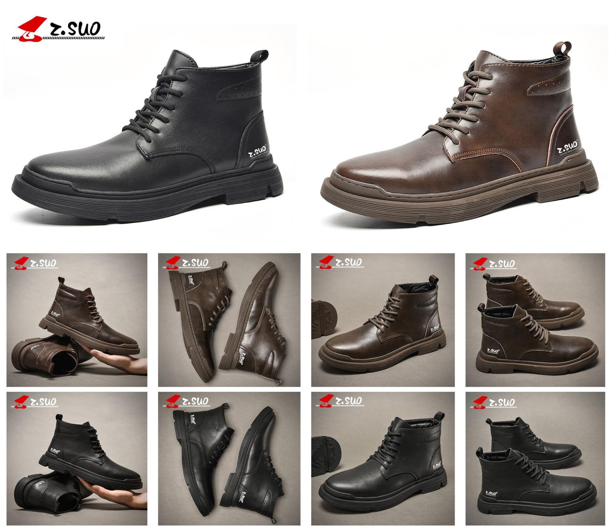 2021 Yeni Z.SUO İnek Deri Erkekler Rahat Ayakkabılar Siyah Kahverengi Renk Yüksek Ayak Bileği Top Qualri Takım Düz Ayakkabı Moda Nefes El Yapımı Erkekler