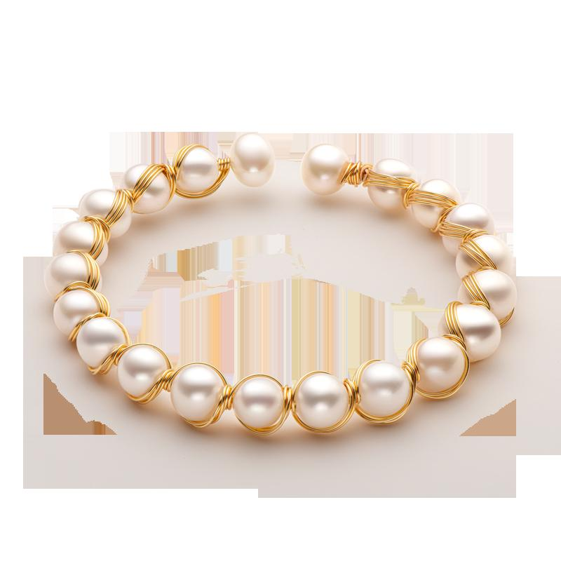 Aiyanishi venda quente mão feita 14k fio de ouro cordas brancas pérola de pérola de água doce pulseira ajustável pérolas estilo vintage