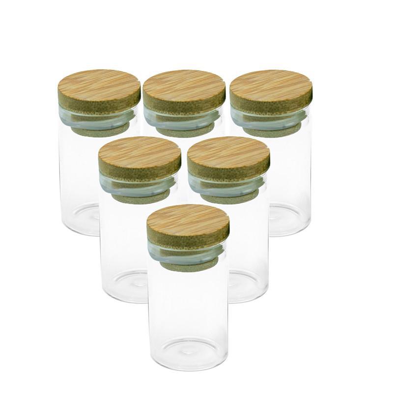 50PC 20мл Стеклянная бутылка с Bamboo Lid Пустые бутылки Солодка Конфеты Saffron Новый стиль Фляг Флаконы Оптовая