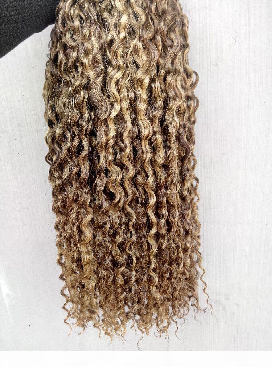 Chinês Humano Virgem Curly Cabelo Weaves Rainha Produtos De Cabelo Castanho Brown Blonde 100g 1Bundle 3bundles para Cabeça Completa