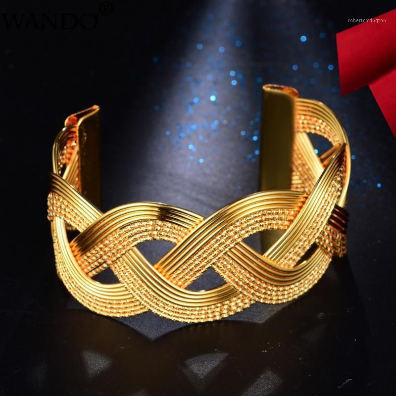 Wando Gold Color Brazalete de moda para mujeres / niña Rattan Pulsera hueca torcida Ramadán Novia de boda Joyería Wave3.3cm Ancho B2-21