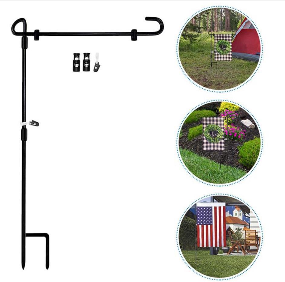 Bahçe bayrak standı bayrak direği Siyah bayrak direği Bahçe Metal Standı Flagpoles Bayrakları Afiş Tutucu Açık Yard Süslemeleri YG865