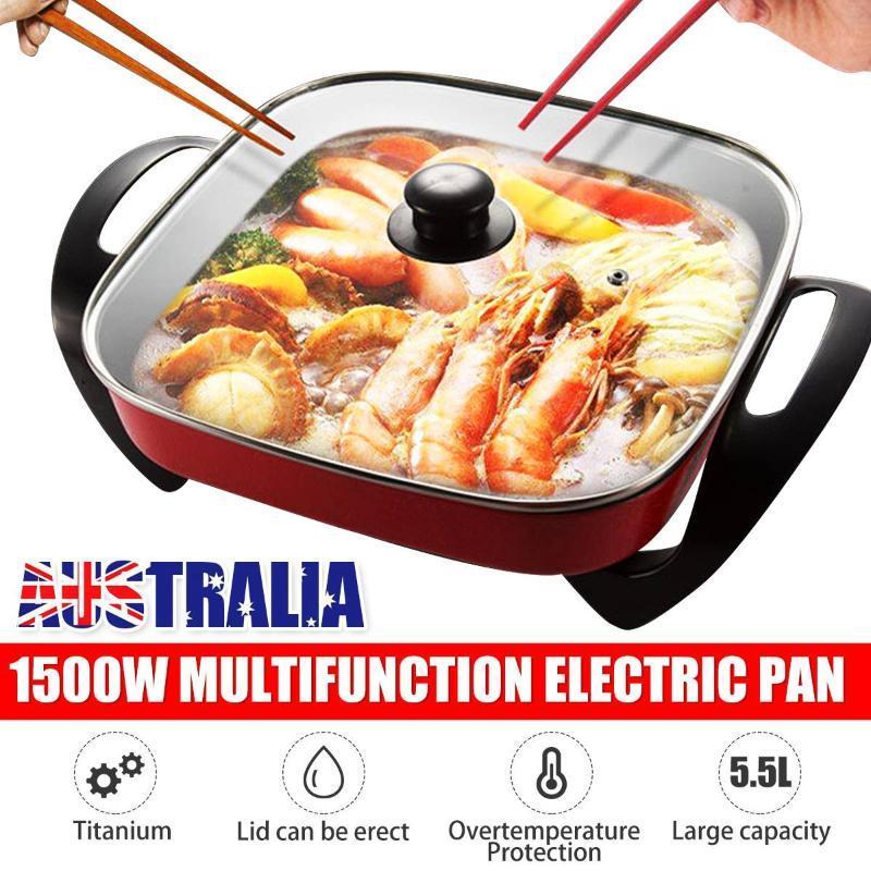 5.5l 1500 واط متعددة الوثمائي طباخ كهربائي التدفئة عموم hotpot المعكرونة البيض الأرز BBQ حساء الباخرة وعاء الطبخ باخرة 220 فولت
