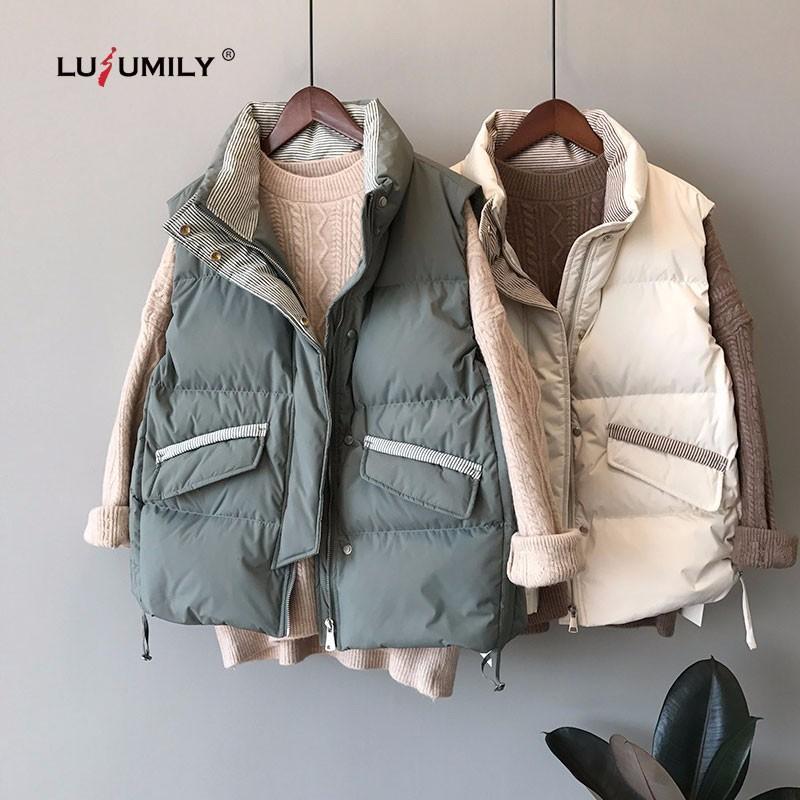 Lusumily recién llegados mujeres chaleco invierno sin mangas abrigo banda suelta cremallera casual bolsillo coreano espesado chaleco femenino