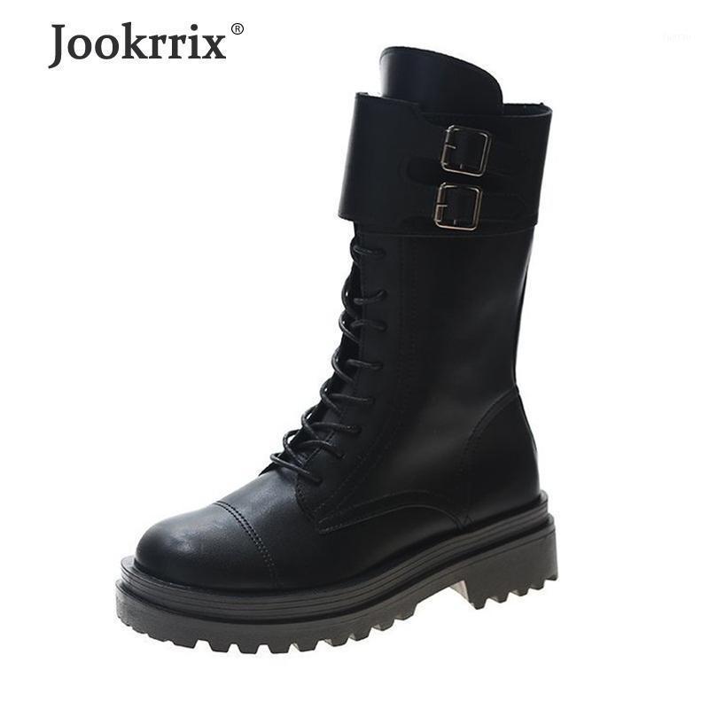 Jokrrix 2020 Mulheres Outono Fashion Fashion Mid Bezerro Botas Para Lady Pu Sapatos De Couro Mulheres Preto Sapatos confortáveis ZB10331