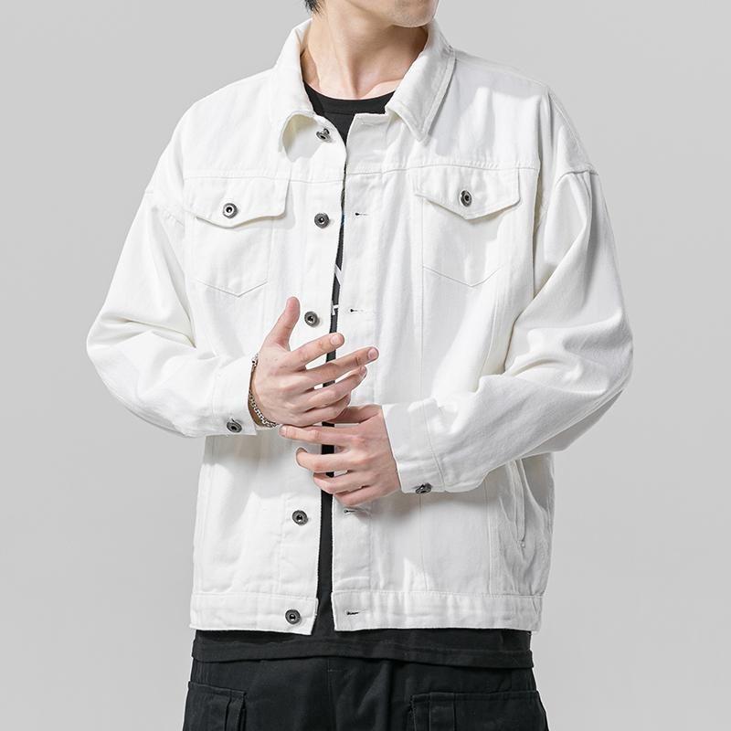 남자 재킷 2021 봄 가을 데님 자켓 힙합 청바지 코트 솔리드 남성가 캐주얼 폭격기 겉옷