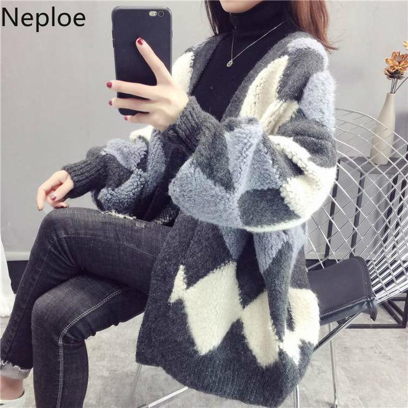 Neploe Sweater Cardigan Frauen Herbst-Winter-koreanische Thick Strickcardigans Argyle Maxi-Hit Farbe Strick Outwear Mantel 55306 201007
