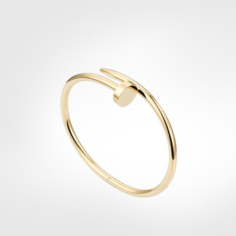 الذهب مسمار سوار مصمم سوار رجل سوار الذهب المسمار الفاخرة والمجوهرات النساء أساور الفولاذ المقاوم للصدأ مطلي التيتانيوم أبدا تتلاشى