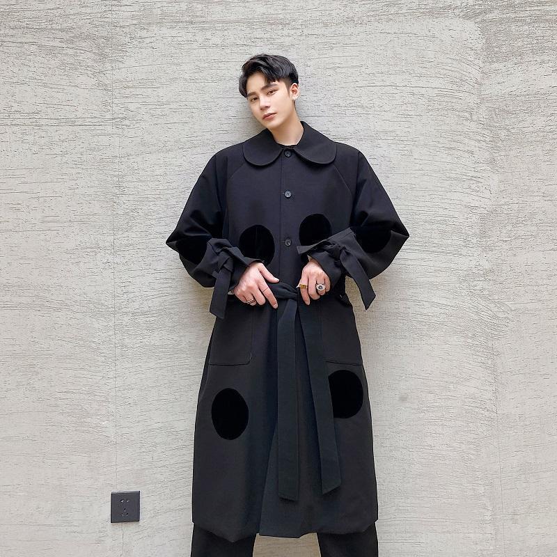 Новая мужская ветровка куртка пальто Мужчины в горошек Япония уличная одежда мода повседневная длинная свободная траншея пальто верхней одежды1