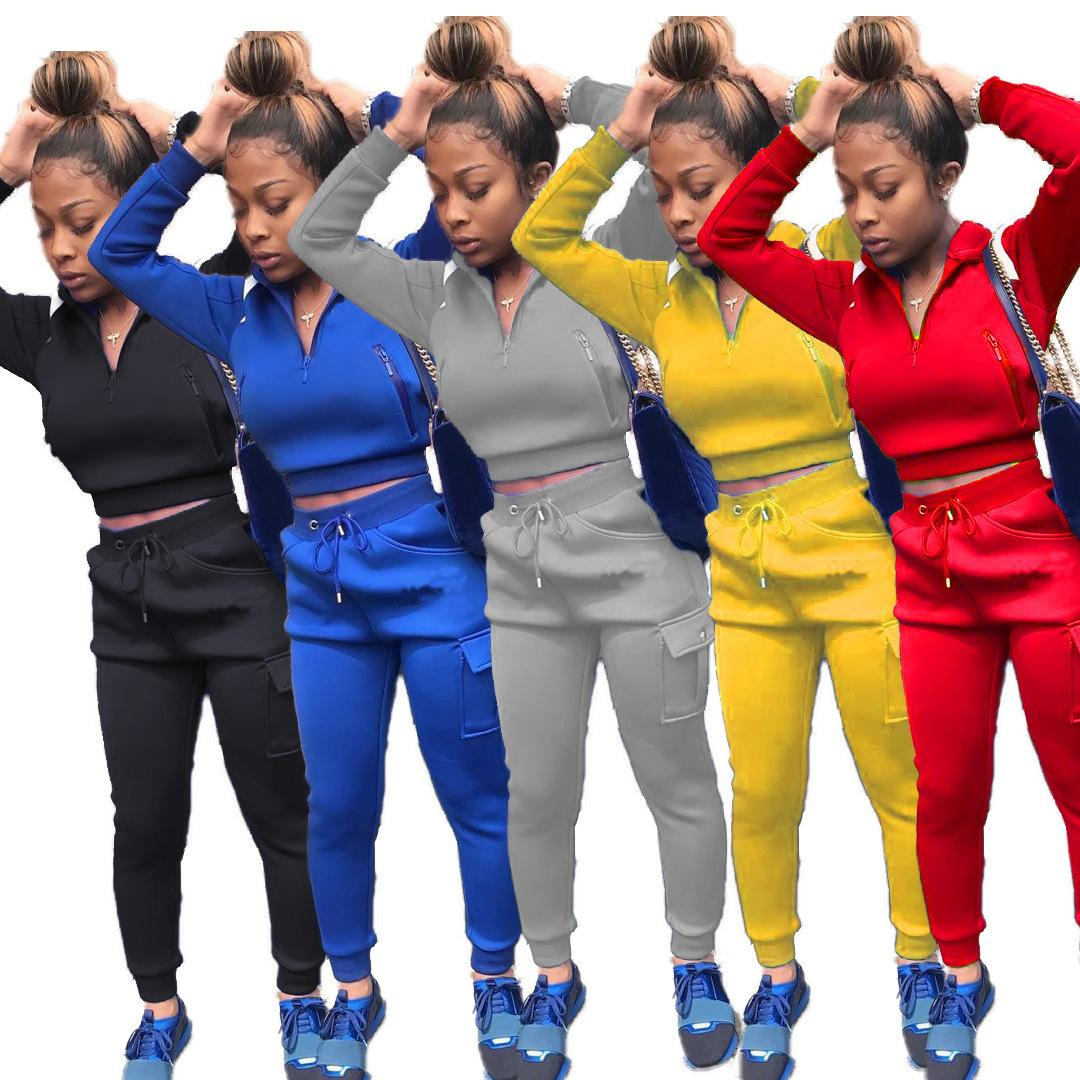 تعيين قطعة النساء رياضية اثنين الصلبة سروال اللون الربط شخصية زيبر سترة العمل السيدات جديد الخريف والشتاء ملابس رياضية 2020
