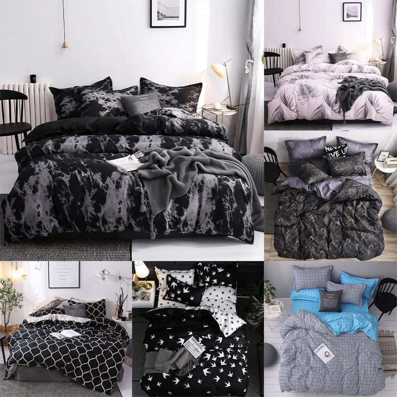 J 5 بسيط فرش السرير لحاف الغطاء كيس المخدة ثلاث قطع مجموعة مفروشات للسرير وسادة حالة واحدة مزدوجة المعزي حاف الغطاء الأسود LJ201015