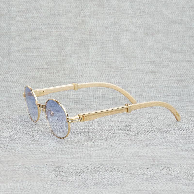 Vintage Blanc Black Buffalo Horn Sunglasses Hommes Round Natura Wood Eyewear pour Woemn Extérieur Verres Clairures Cadre Oculos Shades VIP